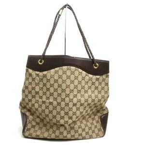 Auth Gucci Gg Tote Bag Brown Canvas #5954G12